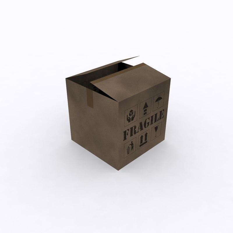 free cardboard box 3d model