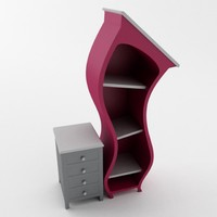 3d model curved bookshelf