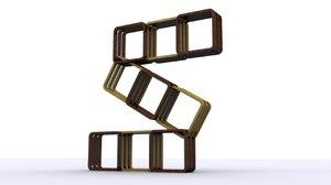 free 3ds model m design bookshelf z