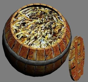 3ds max wooden barrel dried fish