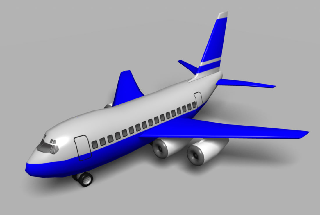 3d cartoon style 747 jet airplane