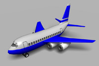 3d cartoon style 747 jet airplane