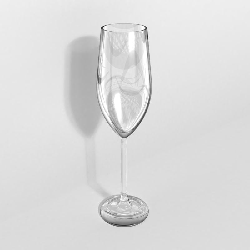3d champagne flute glass model
