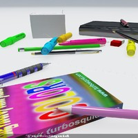 3d model office tools disorganised
