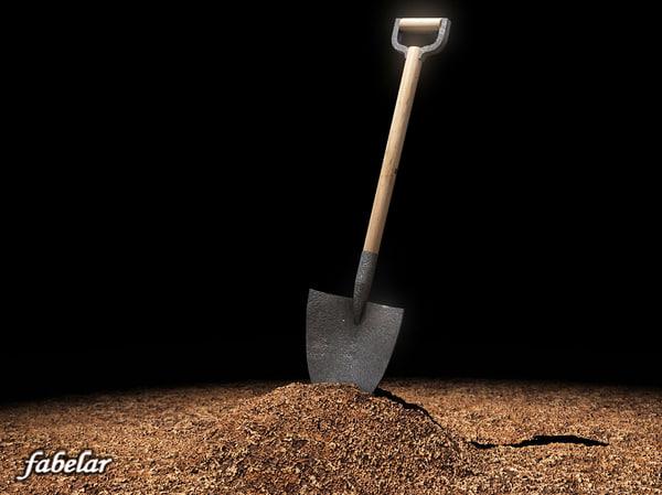 3d model shovel soil