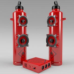 3d model of speaker extinguisher