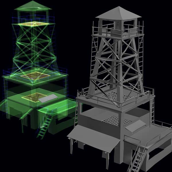 3d model military tower
