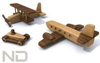 toy automobile biplane 3d c4d