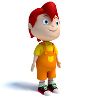 rigged cartoon kid character biped 3d model