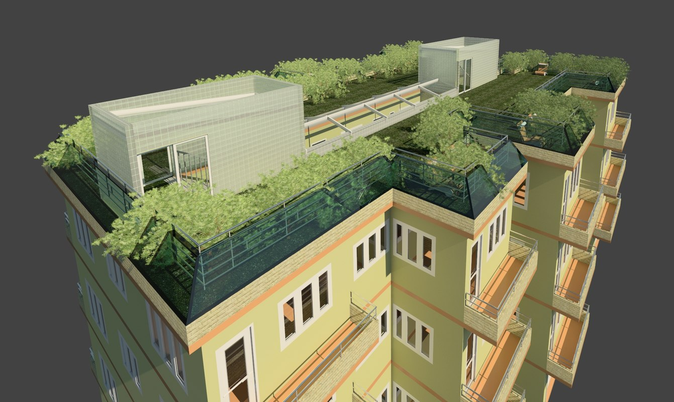 Multifamily Residential Building Green 3d Model