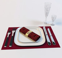 3d tableware plates spoon