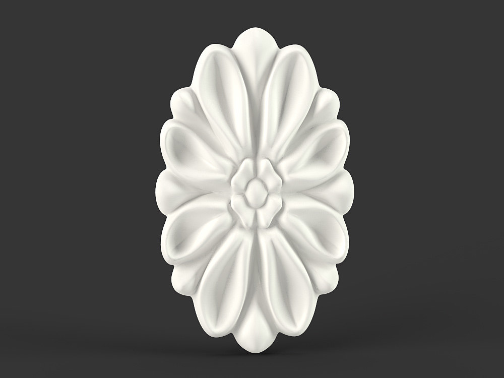 3d max flower oval carved