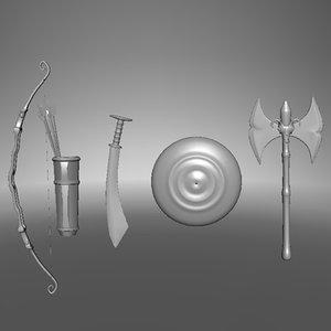 3d model armors shield