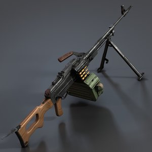 pkm machine gun 3d model