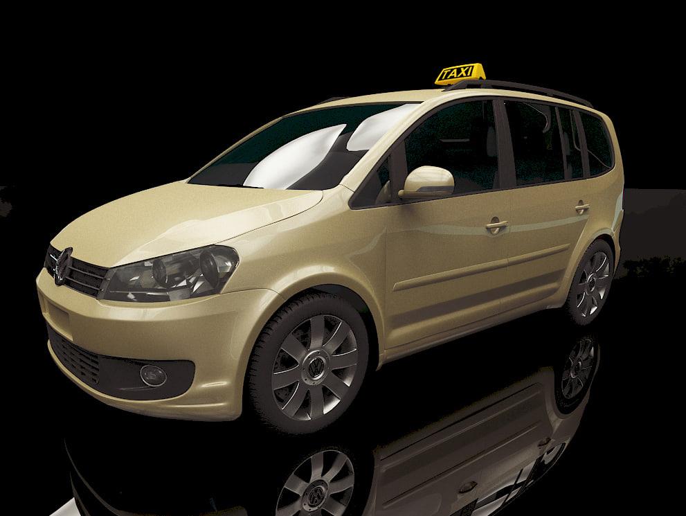 touran 2012 car taxi 3d obj