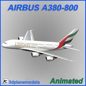 airbus a380-800 aircraft landing 3d model