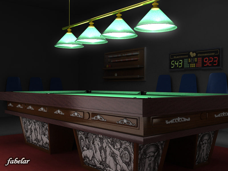 3dsmax billiard room interior