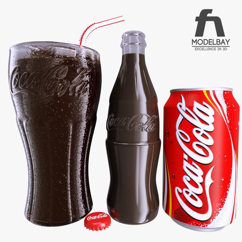 3d photorealistic coca cola glass bottle