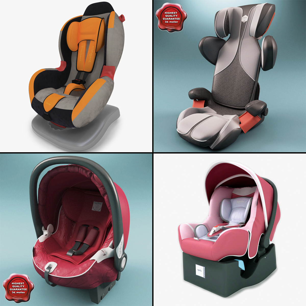 3d model kiddy car seats 3