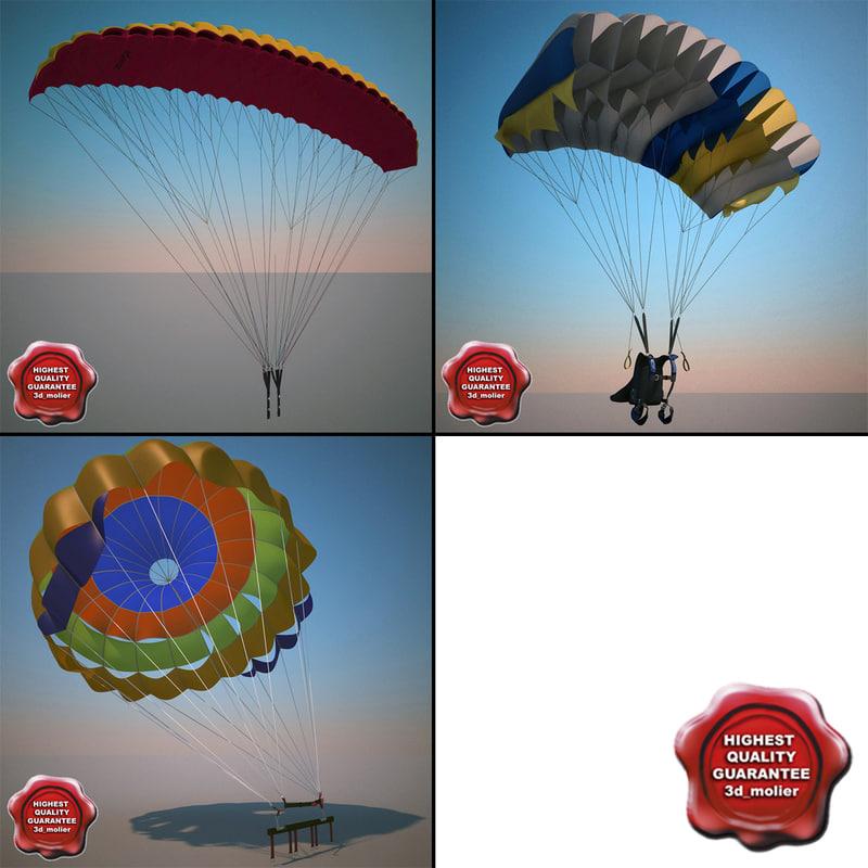 parachutes paragliding modelled 3d max