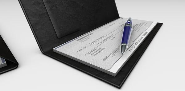 3d model check book pen