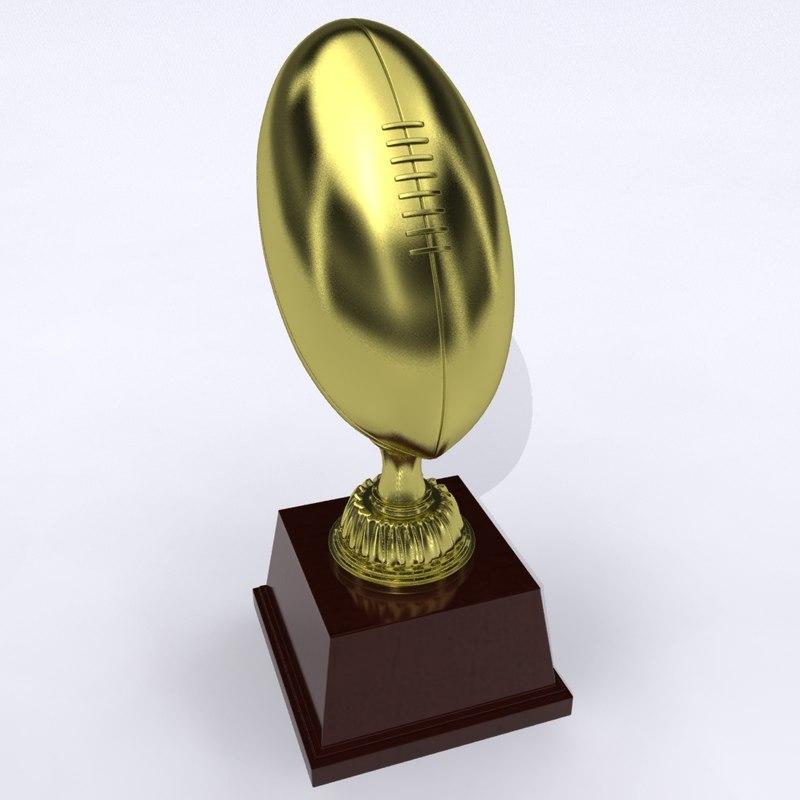 3d model american football trophy