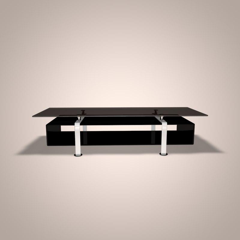 glass tv table 3d model