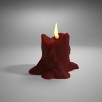 3d creepy wax flame model
