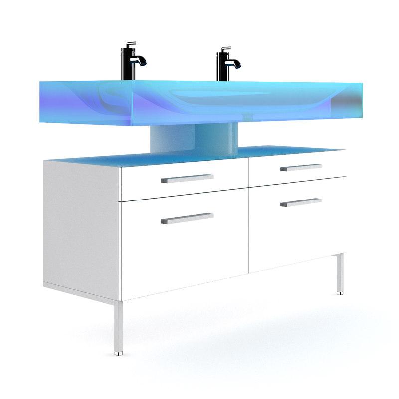 3d model double blue glass sink