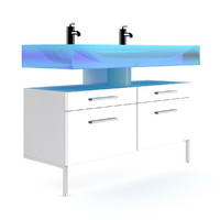 3d model double blue glass sink