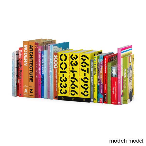3d model colorful design books set