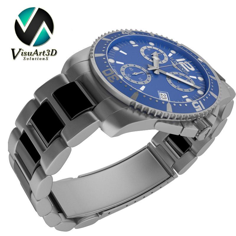 3d model watch longines conquest
