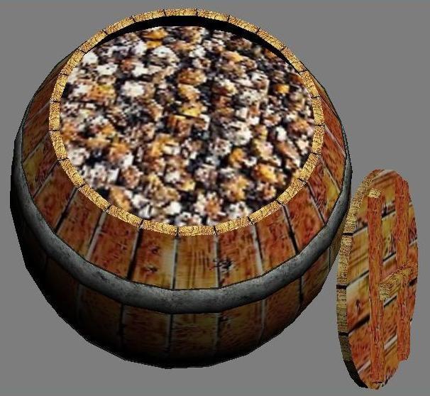 3dsmax wooden barrel mussels