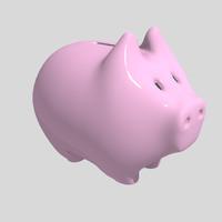 cute piggybank pink 3d model