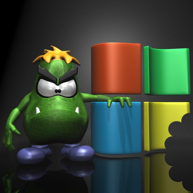 3d model cartoon virus
