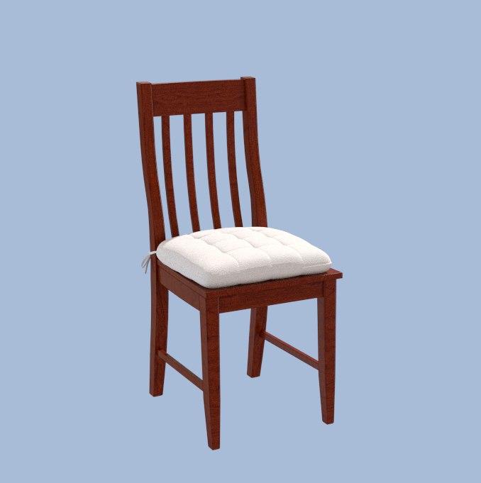 wooden chair cushion 3d obj