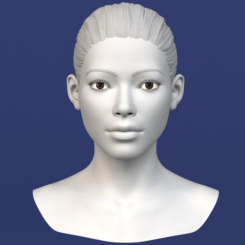 asian female head character c4d