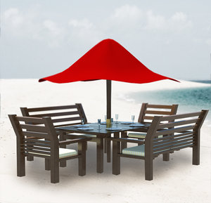 set outdoors table chairs 3d max