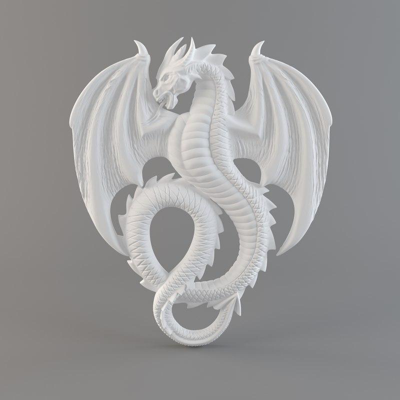 3d bas-relief dragon
