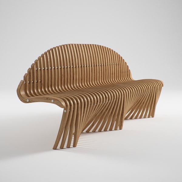 diamond teak straighten bench 3d model