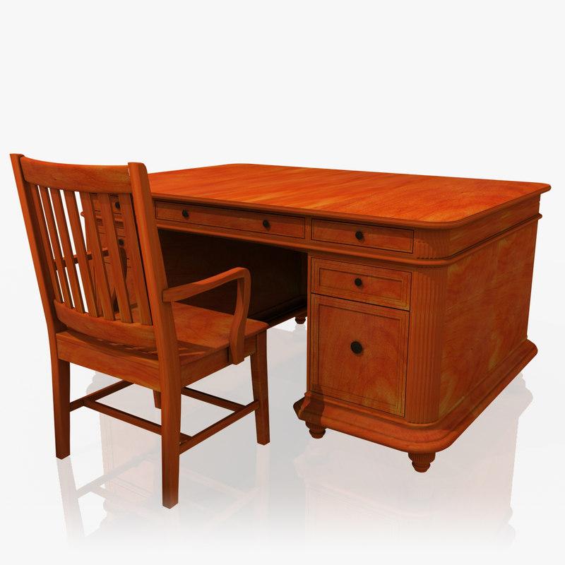 3d classic executive desk office chair model