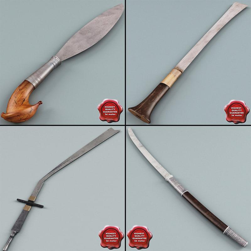 3d far east swords