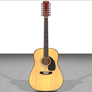 acoustic guitar 12 3d c4d