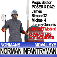 Props Set Poser Daz for Medieval Infantryman Norman