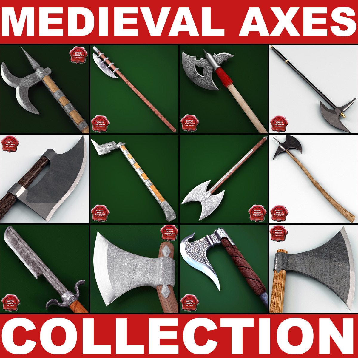 medieval axes 4 3d model