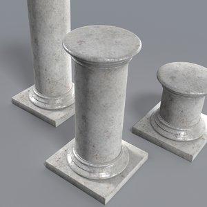 3d pedestals support statue model