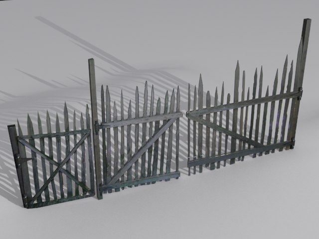 3d old wooden fence model