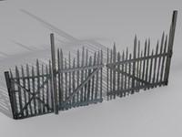 3d old wooden fence model