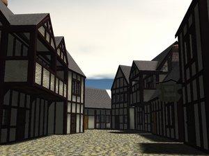 3d london cottages model