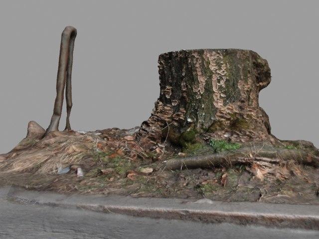 3d tree stump street